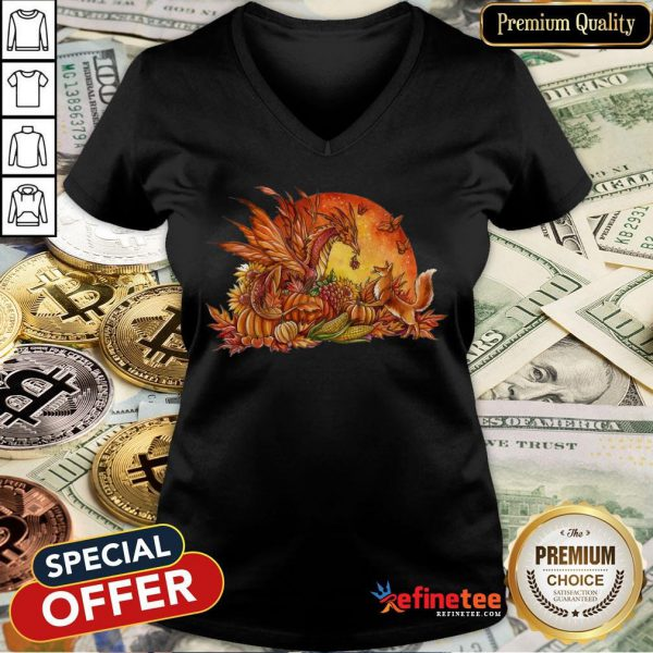Halloween Pumpkin Dragon Fox Butterflies V-neck