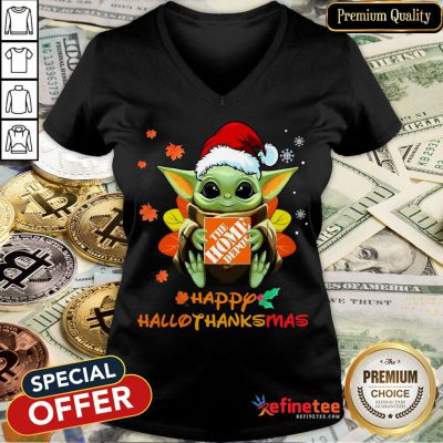 Happy Baby Yoda Hug The Home Depot Happy Hallothanksmas V-neck- Design By Refinetee.com