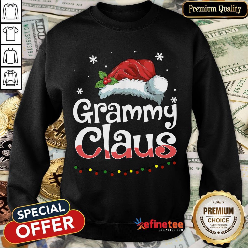 Happy Grammy Claus Santa Hat Matching Family Christmas Pajama Sweatshirt- Design By Refinetee.com