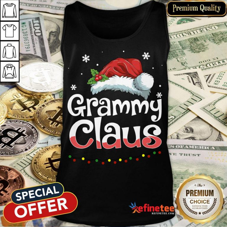 Happy Grammy Claus Santa Hat Matching Family Christmas Pajama Tank Top- Design By Refinetee.com