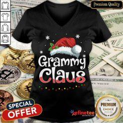 Happy Grammy Claus Santa Hat Matching Family Christmas Pajama V-neck- Design By Refinetee.com
