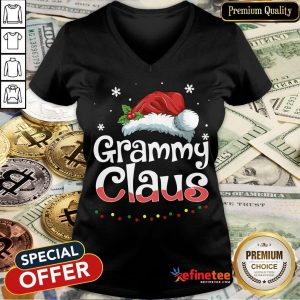 Happy Grammy Claus Santa Hat Matching Family Christmas Pajama V-neck- Design By Refinetee.com