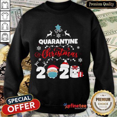 Happy Xmas Quarantine Christmas 2020 Social Distancing Christmas Sweatshirt- Design By Refinetee.com