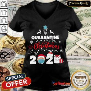 Happy Xmas Quarantine Christmas 2020 Social Distancing Christmas V-neck- Design By Refinetee.com