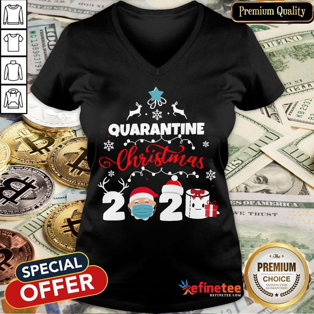Happy Xmas Quarantine Christmas 2020 Social Distancing Christmas V-neck- Design By Refinetee.com