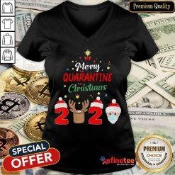Merry Quarantine Christmas 2020 Xmas Pajamas Holidays V-neck