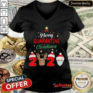 Merry Quarantine Christmas 2020 Xmas Pajamas Holidays V-neck