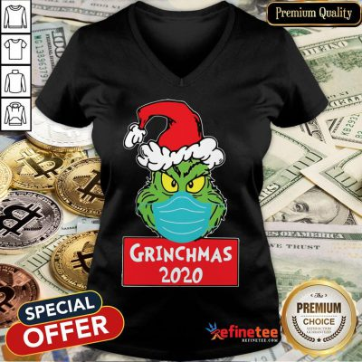 Official Grinch Wears Mask 2020 Christmas V-neck- Design By Refinetee.com