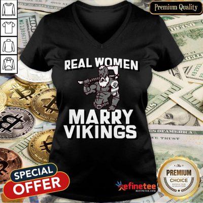 Official Real Women Marry Vikings V-neck