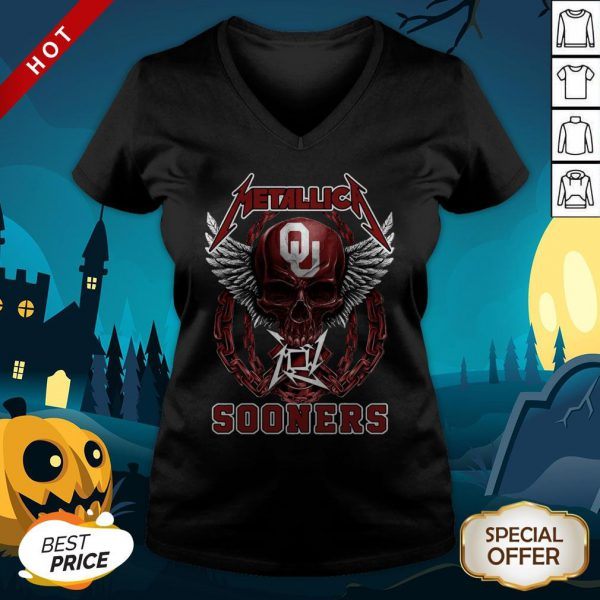 Official Skull Metallica Sooners V-neck
