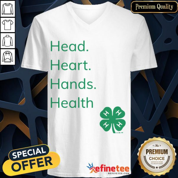 Perfect Head Heart Hands Health 4H V-neck- Design By Refinetee.com