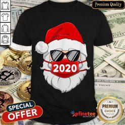 Santa With Face Mask Christmas Shirt