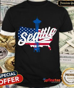 Seattle Tower Needle Space Usa Flag American T-Shirt
