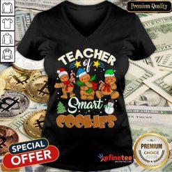 Teacher Of Smart Cookies Christmas V-neck