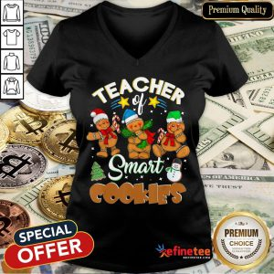 Teacher Of Smart Cookies Christmas V-neck