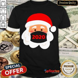 Top Santa Claus Wearing Face Mask 2020 Christmas Shirt- Design By Refinetee.com