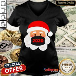 Top Santa Claus Wearing Face Mask 2020 Christmas V-neck- Design By Refinetee.com