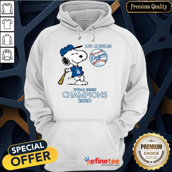 Top Snoopy Los Angeles Dodgers World Series Champions 2020 Hoodie - Design By Refinetee.com