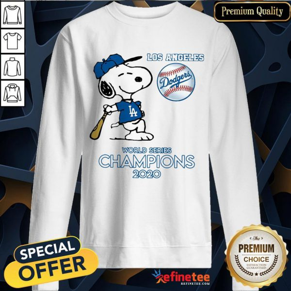 Top Snoopy Los Angeles Dodgers World Series Champions 2020 Sweatshirt - Design By Refinetee.com