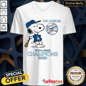 Top Snoopy Los Angeles Dodgers World Series Champions 2020 V-neck - Design By Refinetee.com