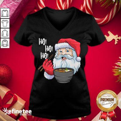 Awesome Santa Ramen Noodles Shirt Christmas Japanese Noodles V-neck - Design By Refinetee.com
