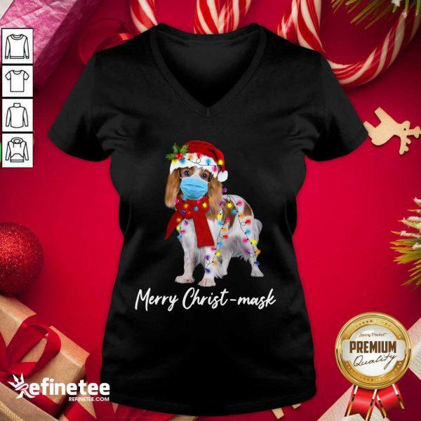 Funny Merry Christ Mask Merry Christmas Light V-neck - Design By Refinetee.com