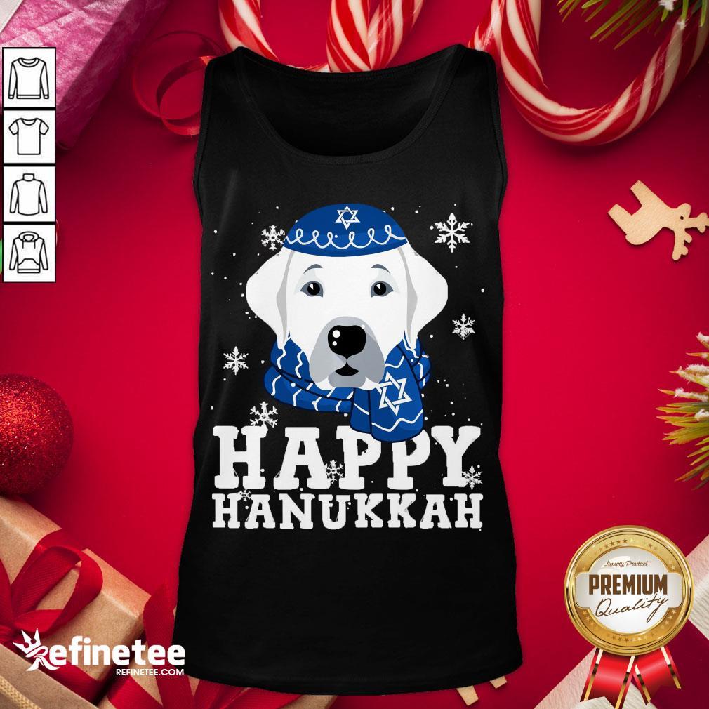 Funny Merry Christmas Happy Hanukkah Labrador Retriever Dog Funny Xmas Tank-Top - Design By Refinetee.com