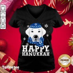 Funny Merry Christmas Happy Hanukkah Labrador Retriever Dog Funny Xmas V-neck - Design By Refinetee.com