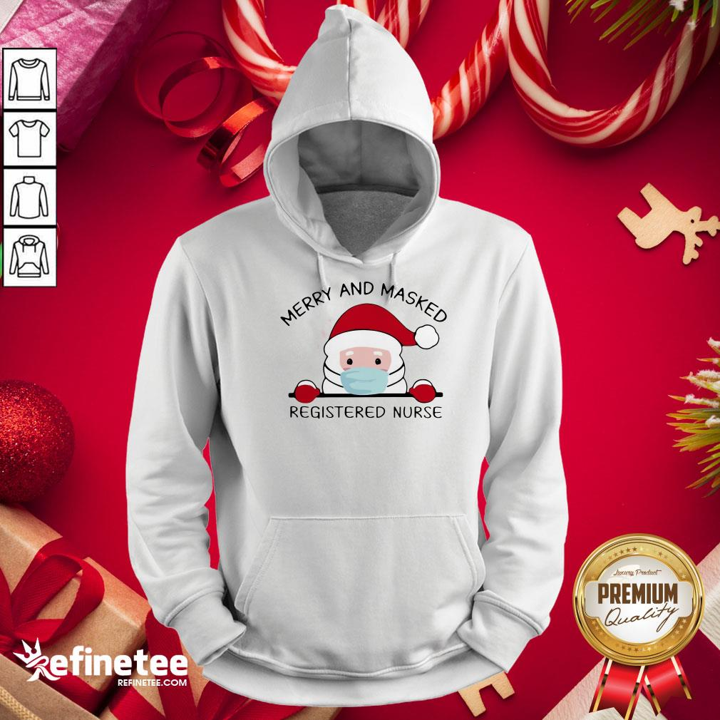Funny Santa Claus Face Mask Merry And Masked Registered Nurse Christmas Sweat Hoodie - Design By Refinetee.com