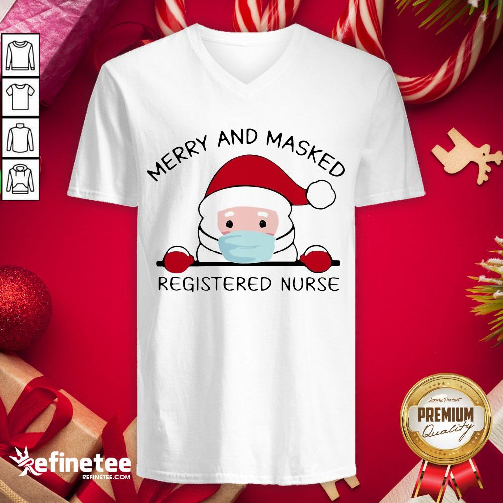 Funny Santa Claus Face Mask Merry And Masked Registered Nurse Christmas Sweat V-neck - Design By Refinetee.com