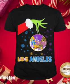 Good Grinch Hand Los Angeles Laker Holding Merry Christmas Shirt- Design By Refinetee.com
