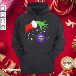 Good The Grinch Hand Holding Ornament Minnesota Vikings Christmas Sweater Hoodie - Design By Refinetee.com