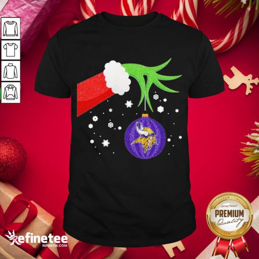 Good The Grinch Hand Holding Ornament Minnesota Vikings Christmas Sweater Shirt- Design By Refinetee.com
