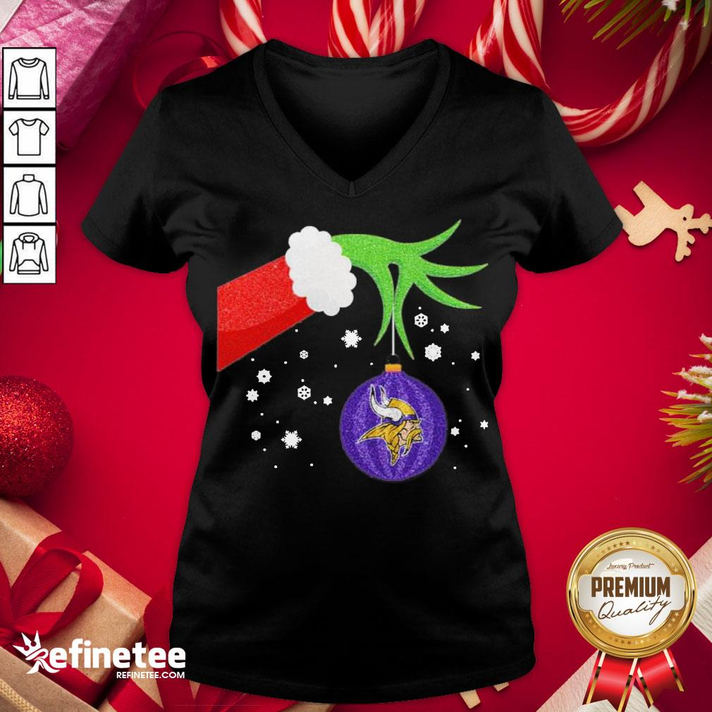 Good The Grinch Hand Holding Ornament Minnesota Vikings Christmas Sweater V-neck - Design By Refinetee.com