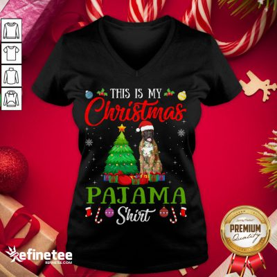 Good This Is My Christmas Pajama Shirt Boxer Dog Lover Gift V-neck - Design By Refinetee.com
