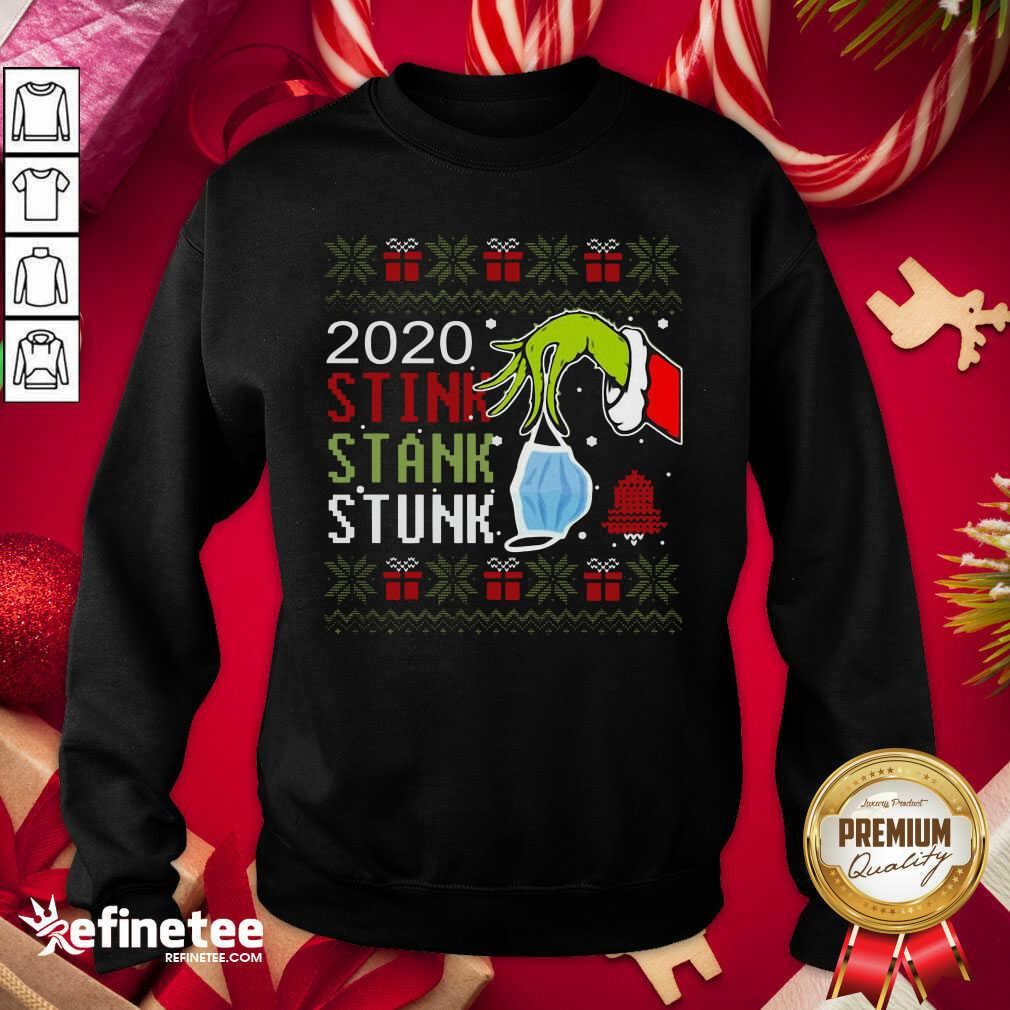 Hand Grinch Holding Mask 2020 Stink Stank Stunk Ugly Christmas Sweatshirt - Design By Refinetee.com