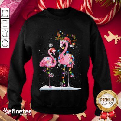 Happy Christmas Flamingo Santa Hat Xmas Lights Flamingo Loves Sweatshirt - Design By Refinetee.com