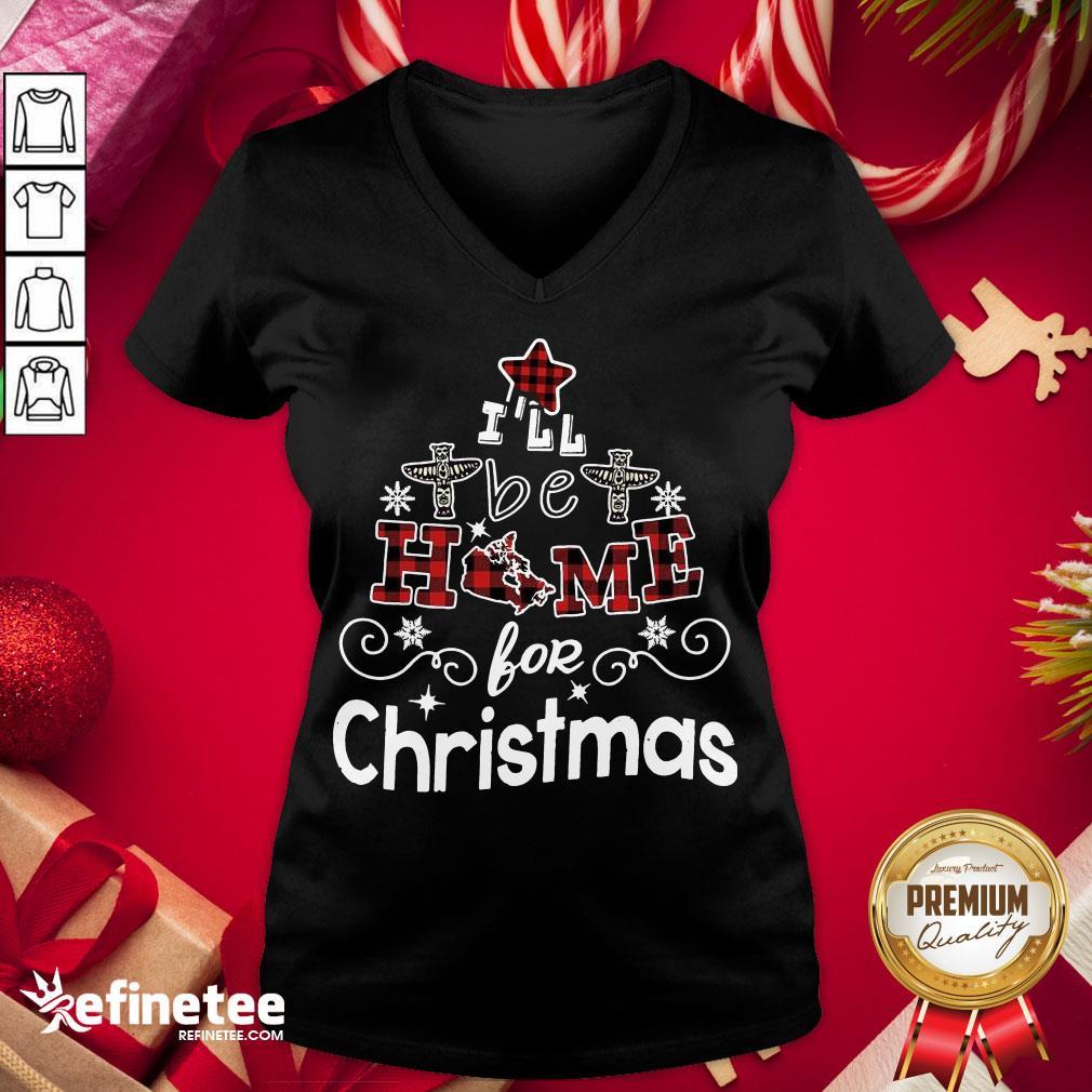 Happy I'll Be Home For Christmas V-neck - Design By Refinetee.com