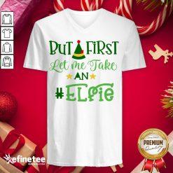 Happy Let Me Take An Elfie Merry Christmas V-neck - Design By Refinetee.com