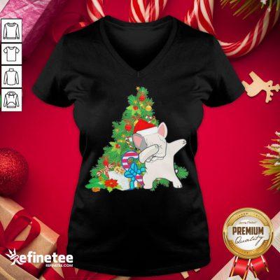 Hot Pug Dabbing Santa Christmas Tree V-neck - Design By Refinetee.com