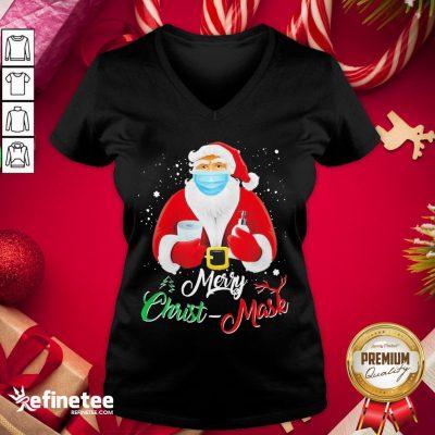 Hot Santa Face Mask Merry Christmas 2020 Quarantine V-neck - Design By Refinetee.com