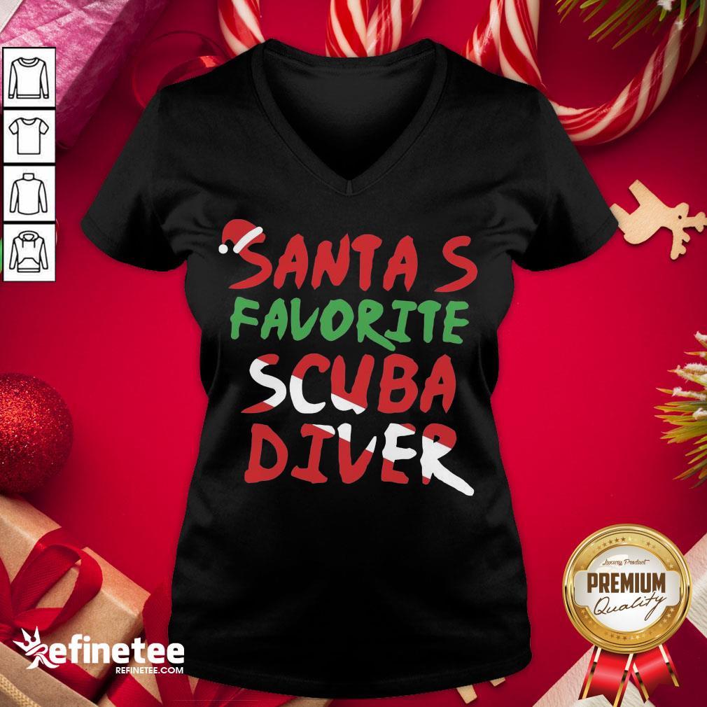 Hot Santa's Favorite Scuba Diver V-neck - Design By Refinetee.com