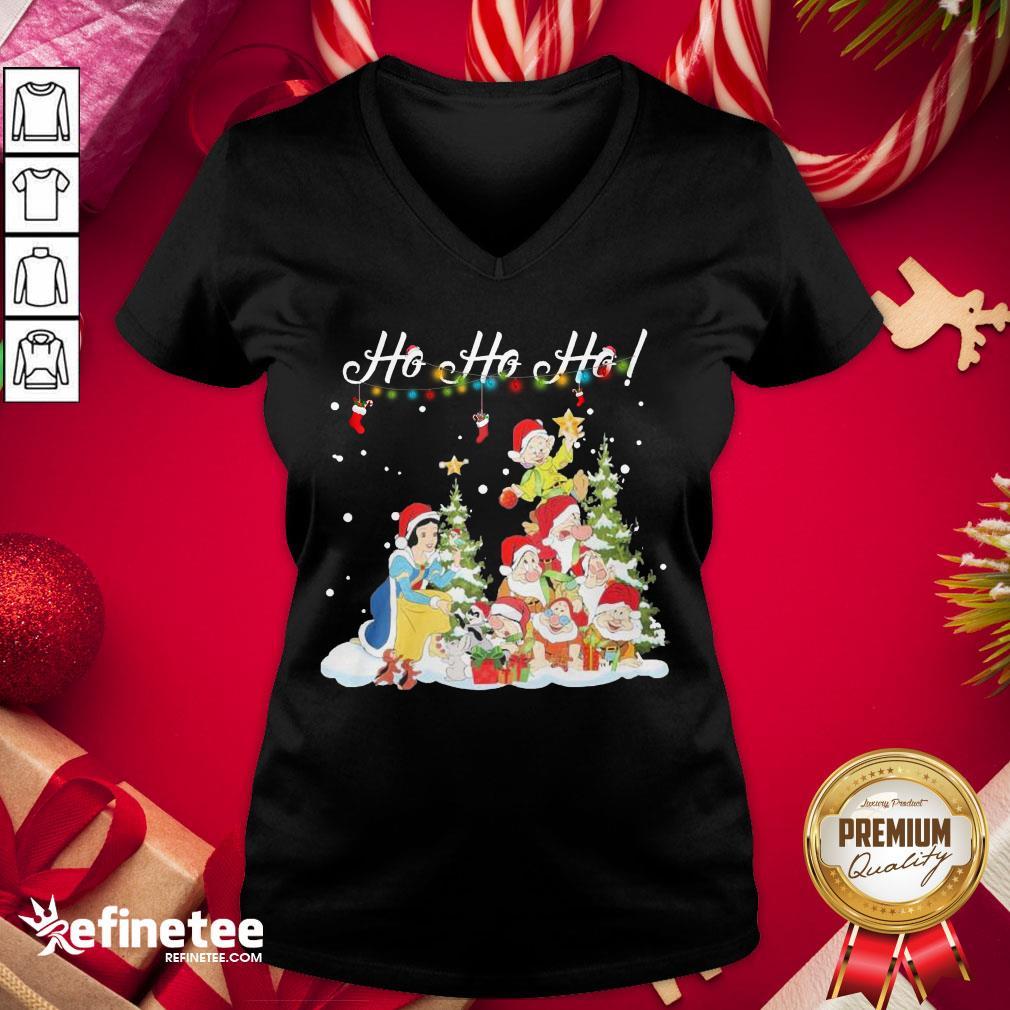 Hot Snow White The Seven Dwarfs Santa Ho Ho Ho Christmas V-neck - Design By Refinetee.com