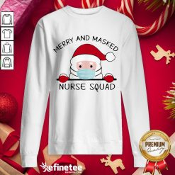 Nice Santa Claus Face Mask Merry And Masked Nurse Squad - Design By Refinetee.com Sweat Sweatshirt