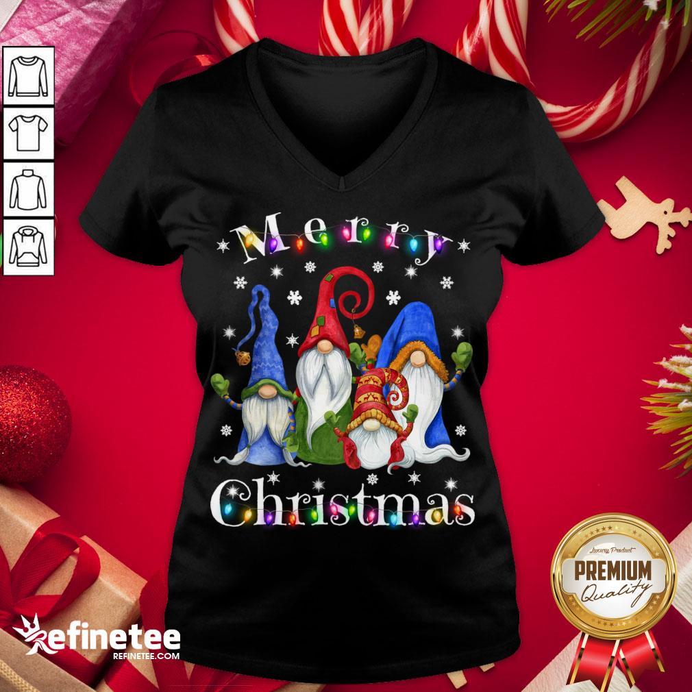 Official Gnome Christmas Pajamas Garden Gnome Merry Christmas Sweat- Design By Refinetee.com er V-neck