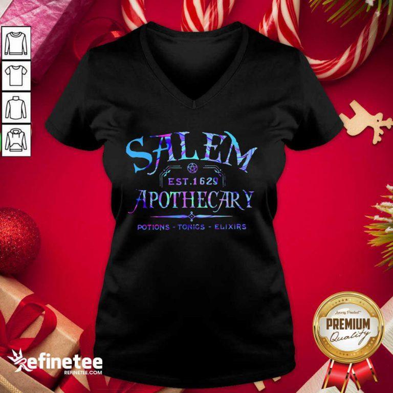Official Salem Est 1629 Apothecary Potions Tonics Elixirs Color V-neck - Design By Refinetee.com