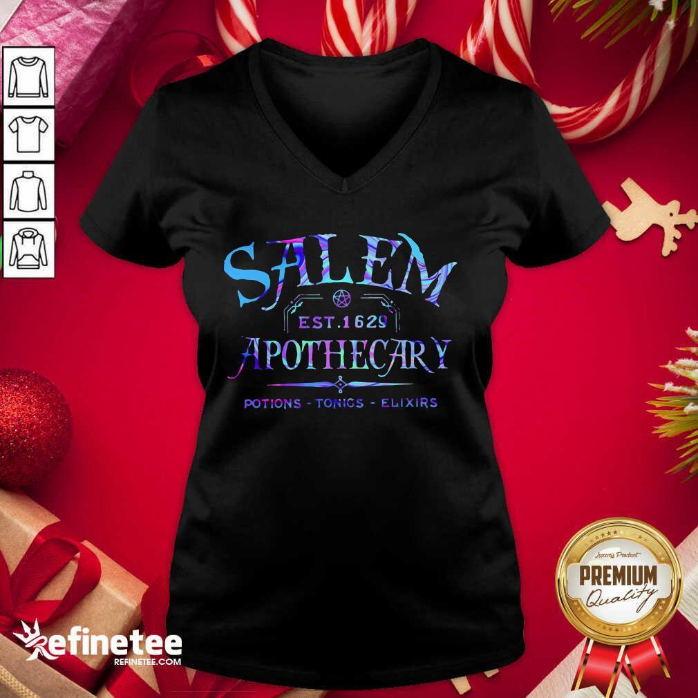 Salem Est 1629 Apothecary Potions Tonics Elixirs Color V-neck - Design By Refinetee.com