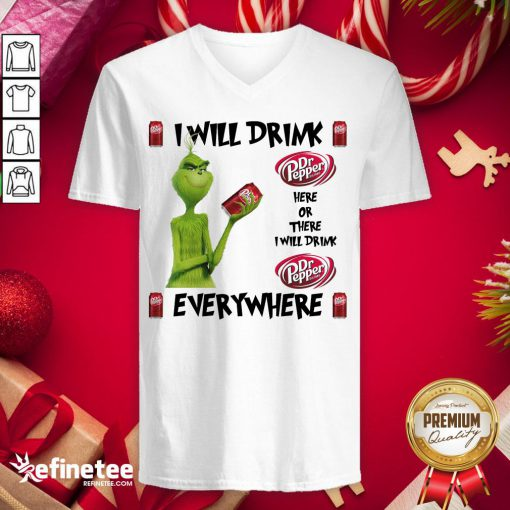 Official The Grinch I Will Drink Dr Pepper Here And There Everywhere Christmas Sweater V-neck - Design By Refinetee.com