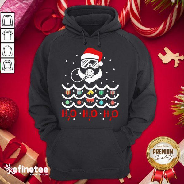 Top Santa Claus Diving Christmas Tree H2O H2O H2O Hoodie - Design By Refinetee.com