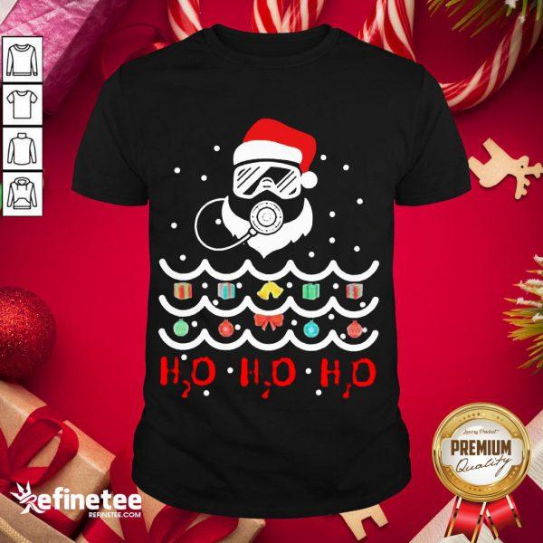 Top Santa Claus Diving Christmas Tree H2O H2O H2O Shirt- Design By Refinetee.com